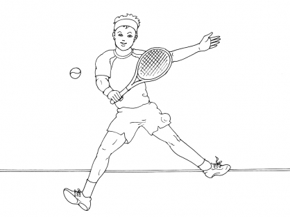 Coloriage Tennis 3