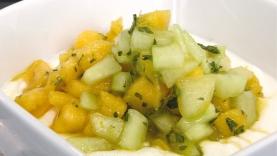 Fromage blanc concombre et mangue à la menthe