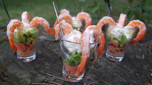 Verrines saumon crevettes avocat