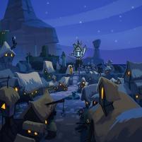 Le village endormi sous la neige