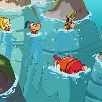 Franky Snow, Adrénaline, Zack et Ben échoués sur une île déserte.