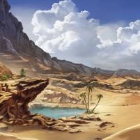 un désert de sable au fond d'un cratère abandonné - Décors Redakai