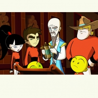 Xiaolin Chronicles - Maîte Fung avec Omi, Clay, Kimiko, Raymundo et Ping-Pong