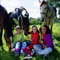 Lisa, Carole et Steph sur l'herbe