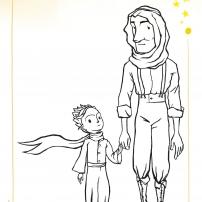 Coloriages du Petit Prince : l'aviateur et le Petit Prince