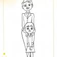 Coloriages du Petit Prince : la petite fille et sa maman