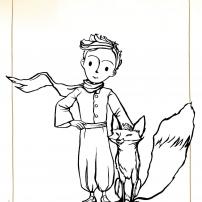 Coloriages du Petit Prince : le Petit Prince et le renard