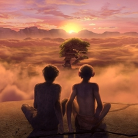 Pourquoi j'ai pas mangé mon père : Lucy et Edouard au coucher du soleil