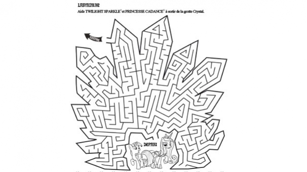 Activité à imprimer - Labyrinthe avec Twilight Sparkle et Princesse Cadance - My Little Pony
