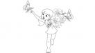 Marina et son bouquet de fleurs : coloriages