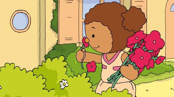 Lalou aide mami-Nani à cueillir des fleurs