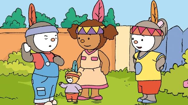 Pilou,  T'choupi, Doudou et Lalou se sont déguisés en indiens.