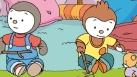 T'choupi, Doudou et Pilou jouent sous la tente.