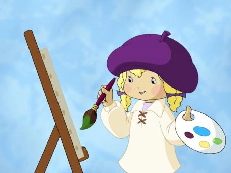 Angélique en train de peindre