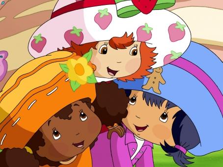 Charlotte aux Fraises et ses deux amies Fleur d'Oranger et Cookienelle