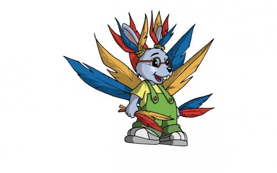 Martin déguisé avec des tas de plumes