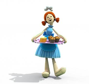 Annie porte Annie porte un plateau avec des toasts et des gâteaux