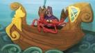 Un crabe dans un bateau sous la mer