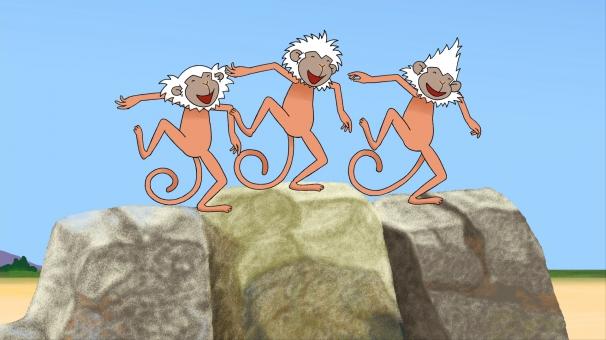 Les trois frères Flip, Chip et Kip dansent sur le rocher au rythme de la musique de la savanne