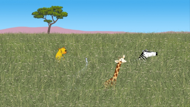 Bo, Karla et Max jouent dans la savane