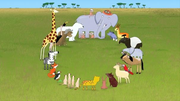 Tous les animaux écoutent Mama parler en cercle