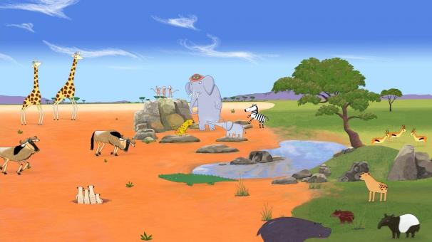 Les animaux sont réunis pour écouter la musique de la savanne