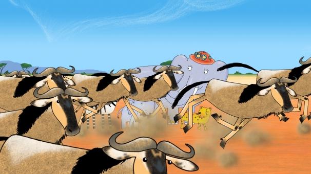 Mama au milieu du troupeau dans la savane