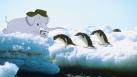 Mama sur la banquise en compagnie des pingouins