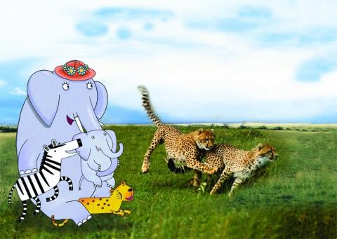 Mama et ses amis regardent les guépards courir dans la savanne