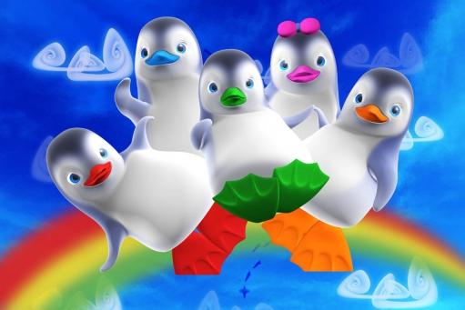 Les Ozie Boo s'amusent sur leur arc en ciel