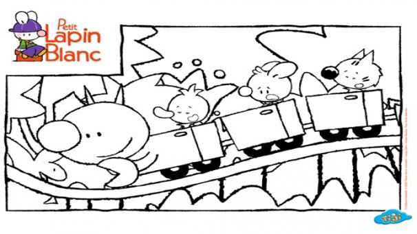 Bonus dessins petit lapin blanc h ros tiji - Coloriage fete foraine ...