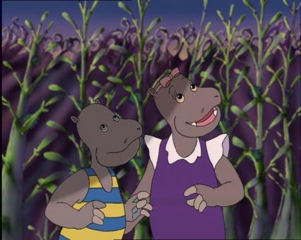 Petit Potam et Tessie dans un champ