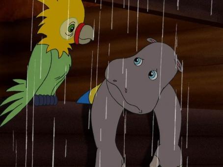 Petit Potam et un perroquet sont sous la pluie