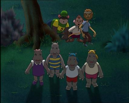 Petit Potam ses frères et soeur et ses amis dans la nuit