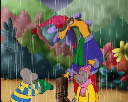 Petit Potam Tessie et un ami jouent sous la pluie