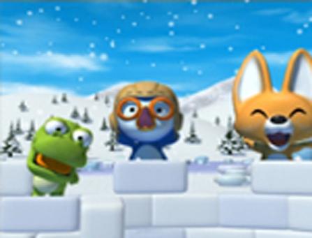 Crong fabrique un igloo en compagnie de ses amis