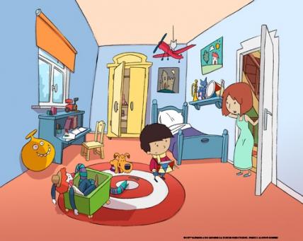 Antoine et sa maman dans la chambre