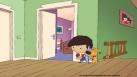 Woofy et Antoine se cachent dans le couloir