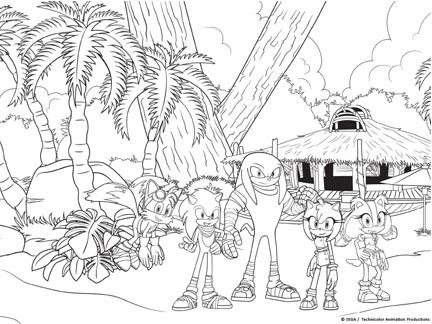 Coloriage Oscar Et Malika.La Bande De Sonic Coloriages Goodies Sonic Boom