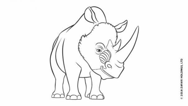 Coloriage En Ligne Rhinoceros.Coloriages Zafari Heros Tiji